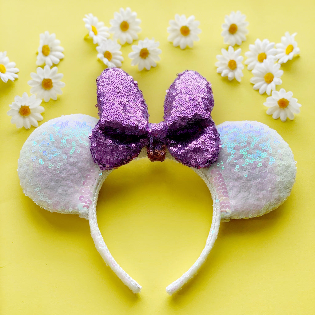 FULL SIZE Sequin WHITE Daisy PURPLE Bow Handmade Ears