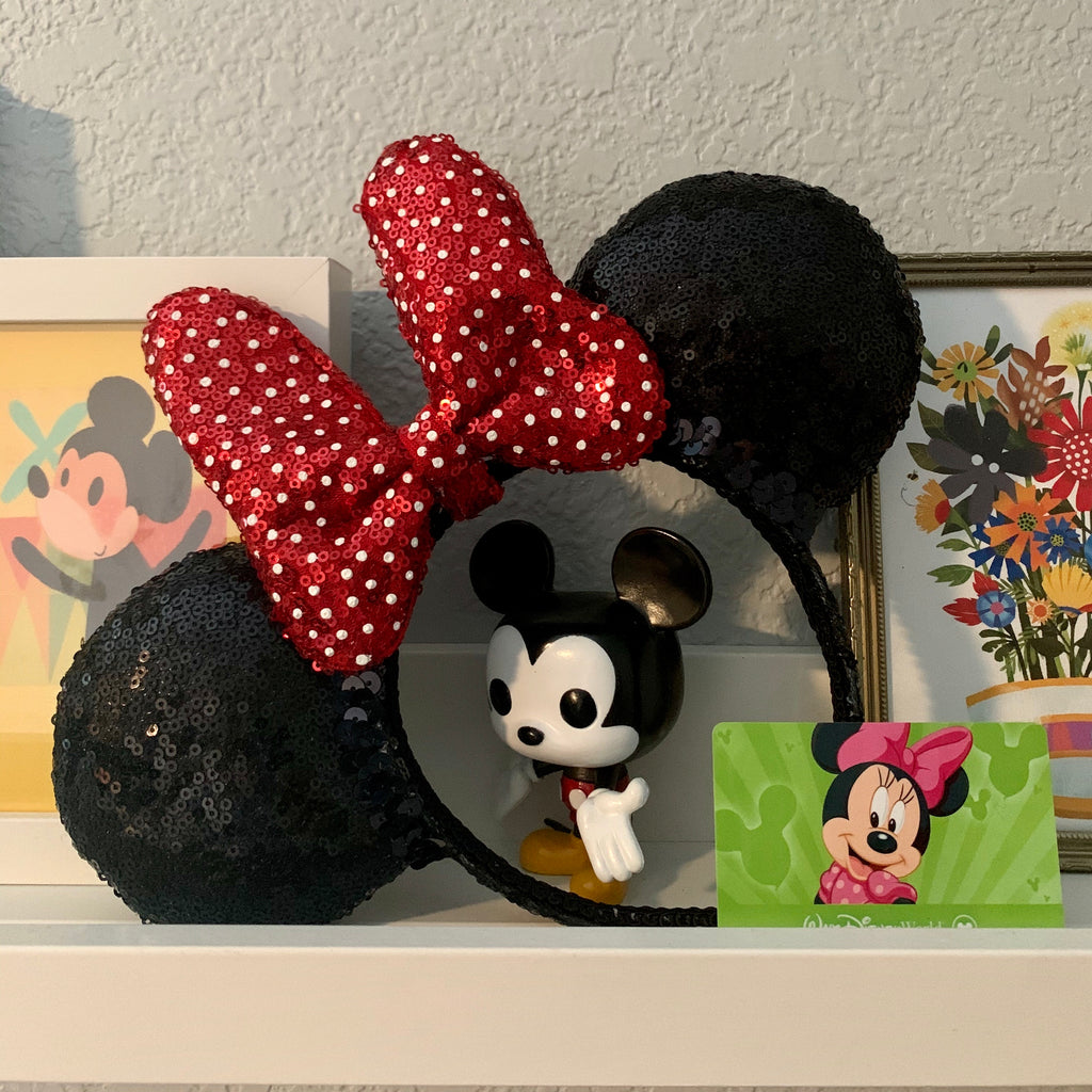 Sequin Red Tiny Dot Minnie FULL SIZE Handmade Ears