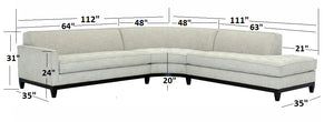 "Hollywood 3pc Sectional w/Wood Base Right Facing 112"" x 111"""