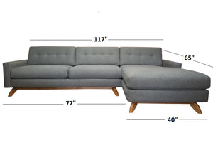 "Venice 2pc Sectional Right Facing 117""W x 65""L"