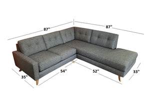 "Venice 2pc Sectional Right Facing 87""W x 87""L"