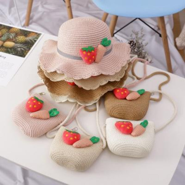 Kids Strawberry Carrot Summer Straw Hat & Purse Set