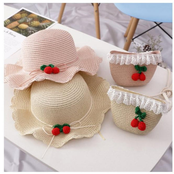Kids Cherry Summer Straw Hat & Purse Set