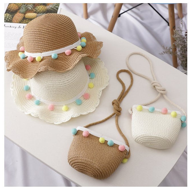 Kids Pompom Summer Straw Hat & Purse Set