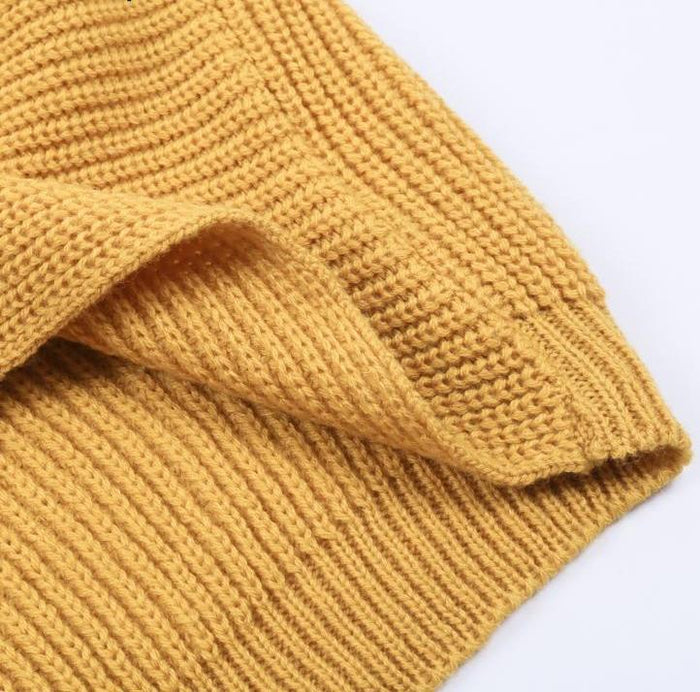 V-Neck Cross Knitted Wrap Sweater Top