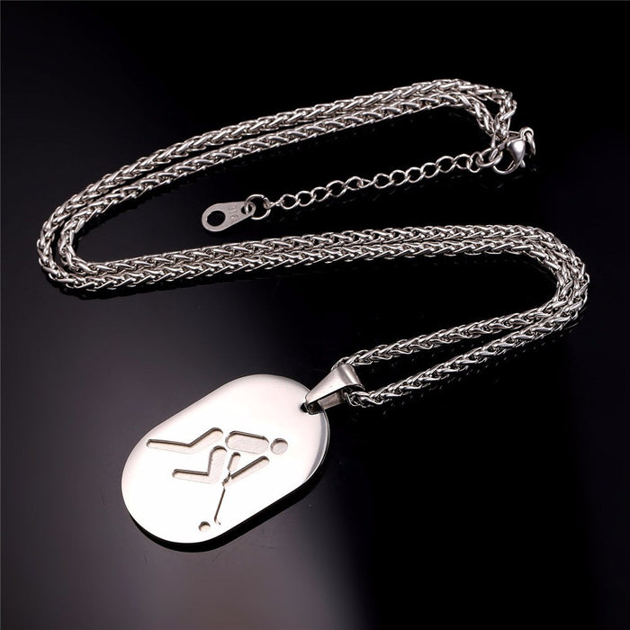 Hockey Dog Tag Necklace