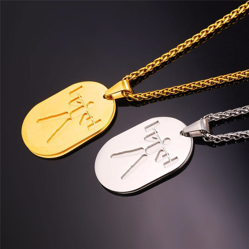 Weightlifting Dog Tag Necklace