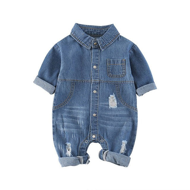Denim Racing Car Romper