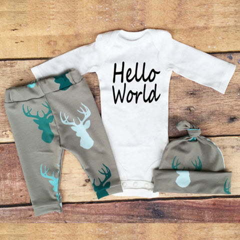 Newborn -Baby Outfit -Hello World