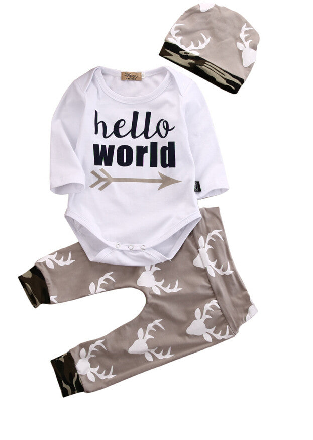 Newborn Baby Boy or girl Hello world outfit