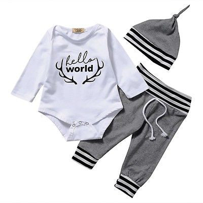 Newborn Hello World 3 pc Outfit-going home set