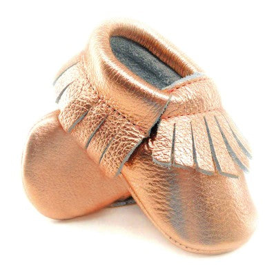 Genuine Leather Metalic Baby Moccasins