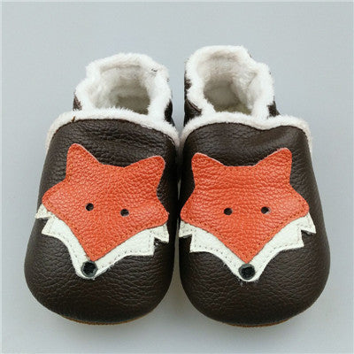 Baby Leather Moccasins with Fox