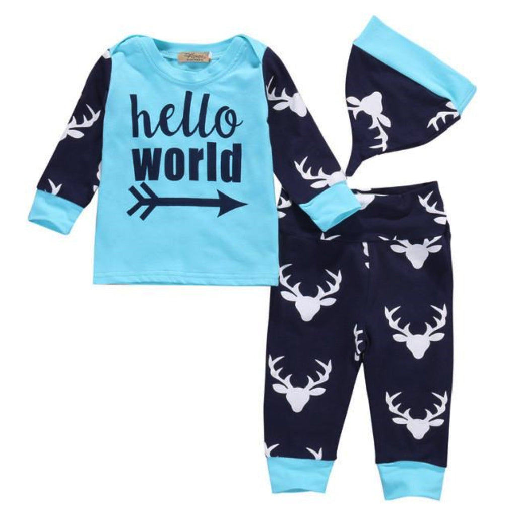Newborn, Hello World deer print outfit