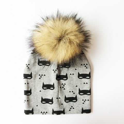 Baby Boy Beanie with Fur Pom Pom