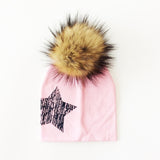 Baby Girl Beanie with Fur Pom Pom