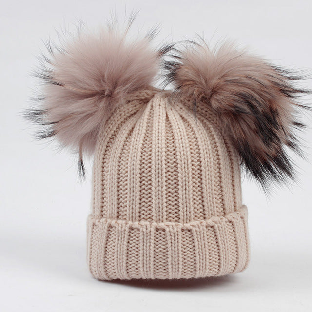 Baby Knit Hat with Fur POM POM's