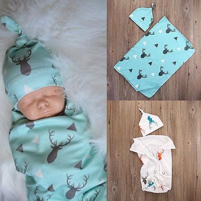 Baby Deer Print Hat and Swaddle Blanket