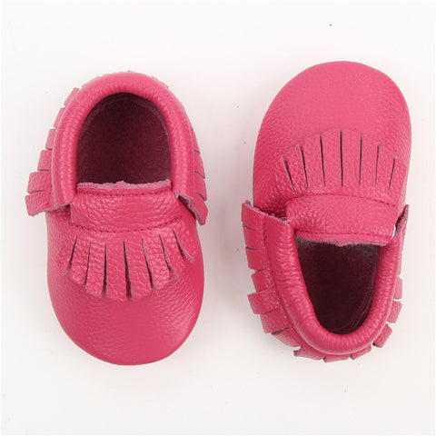 Genuine Leather Baby Moccasins Fringe