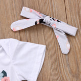 Hot sell Newborn Kid Baby Girls Clothes Cotton Short Sleeve Jumpsuit Romper +Pants+Headband 3pcs Outfits Baby Clothing Set