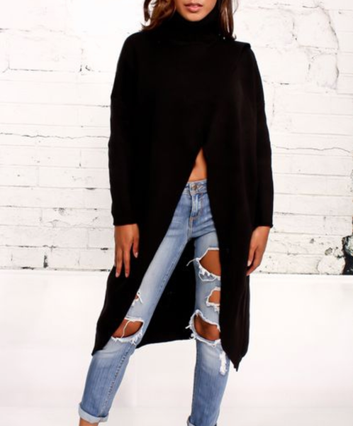 Open Slit Sweater