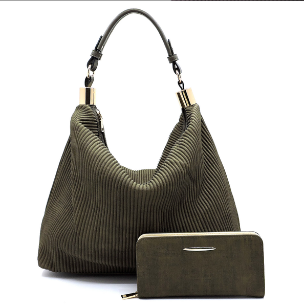 Corduroy Pleaded 2-in-1 Shoulder Bag