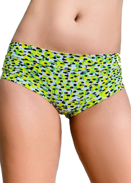Cleo the Hurricane Bottoms Power Print Hot Pants Yellow Leopard