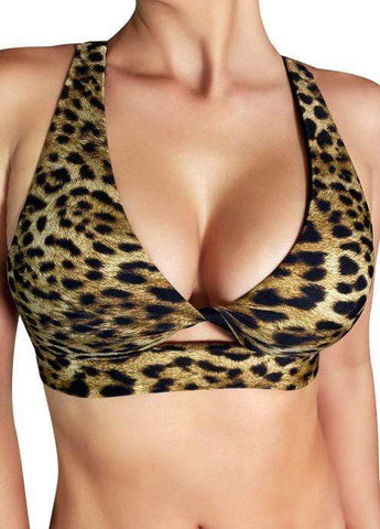 Cleo the Hurricane Tops Essential 'Fawnia' Twist Sports Bra Leopard