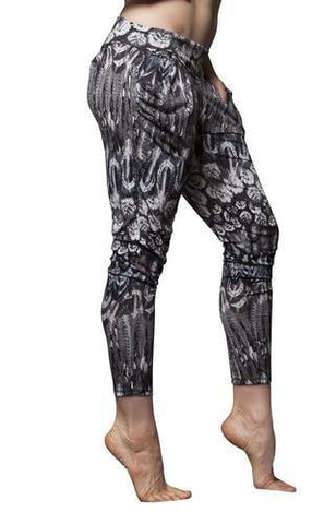 Basic Flow Pant Feather Print - Black/Ivory - Flow Movement by Marlo Fisken - PoleActive