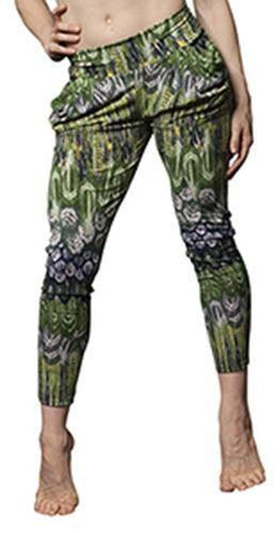 Basic Flow Pant Feather Print - Navy/Olive - Flow Movement by Marlo Fisken - PoleActive