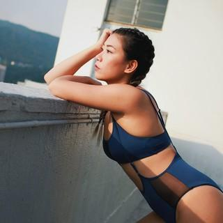 Indigo Mesh Side High Waisted Bottom - Hamade Activewear - PoleActive