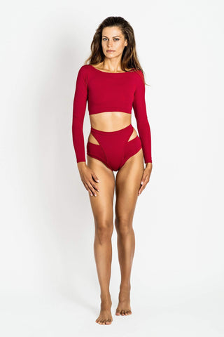 Aleksandra Long Sleeved Top Cherry - MilaKrasna - PoleActive