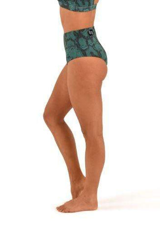 Off the Pole Shorts High Waisted Pole Shorts Emerald Green Snake Print