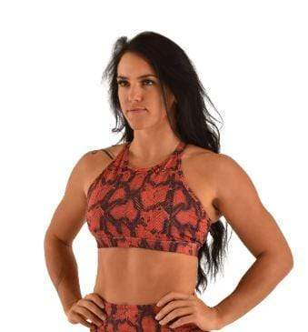 Off the Pole Tops Lifestyle Sports Bra Burnt Orange Snake Print