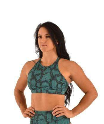 Off the Pole Tops Lifestyle Sports Bra Emerald Green Snake Print