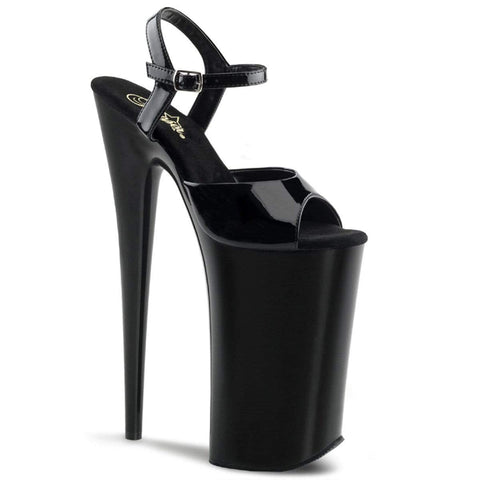 "Pleaser Shoes 10"" Heel, 6 1/4"" PF 10"" Heel Blk/Blk BEY009/B/M"
