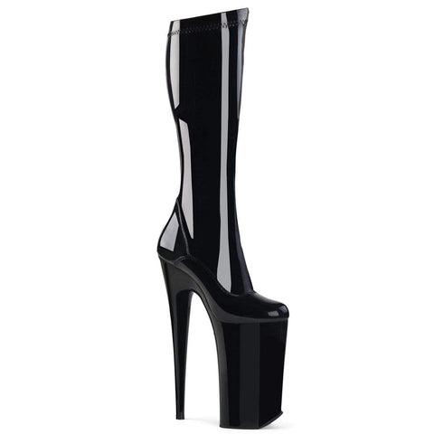 "Pleaser Shoes 10"" Heel, 6 1/4"" PF Knee High Boots Blk Str Pat/Blk BEY2000/B/M"