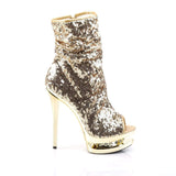 "Pleaser Shoes 6"" Heel, 1 1/2"" PF Ankle/Mid-Calf Boots Gold Sequins/Gold Chrome BL-R1008/GSQ/GCH"