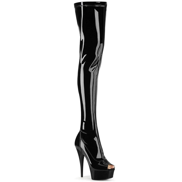 "Pleaser Shoes 6"" Heel, 1 3/4"" PF Thigh High Boots Blk Str. Pat/Blk DEL3011/B/M"