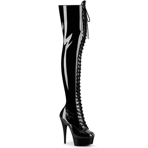 "Pleaser Shoes 6"" Heel, 1 3/4"" PF Thigh High Boots Blk Str Pat/Blk DEL3023/B/M"