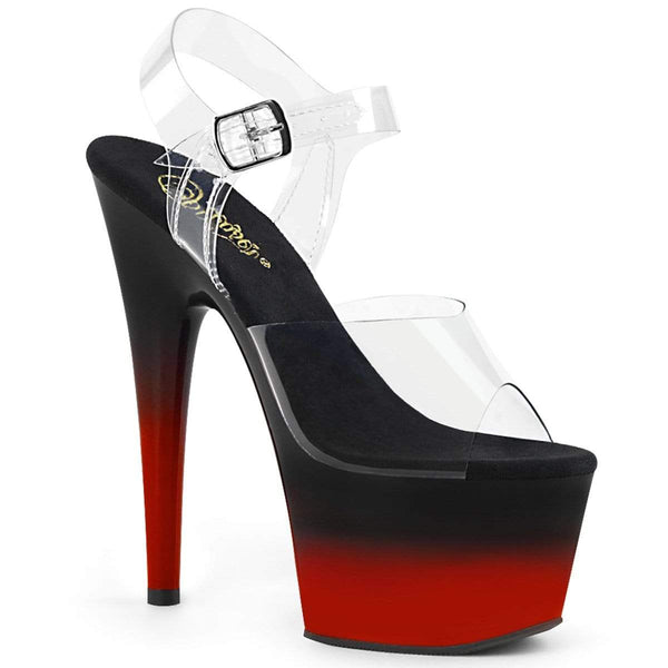 "Pleaser Shoes 7"" Heel, 2 3/4"" PF 7"" - 7 1/2"" Heel Clr/Blk-Red ADO708BR-H/C/B-R"