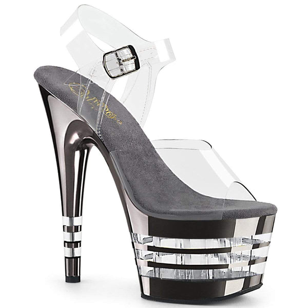 "Pleaser Shoes 7"" Heel, 2 3/4"" PF 7"" - 7 1/2"" Heel Clr/Pewter Chrome ADO708CHLN/C/PWCH"