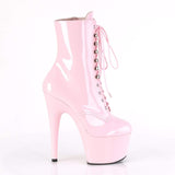 "Pleaser Shoes 7"" Heel, 2 3/4"" PF Ankle/Mid-Calf Boots B. Pink Pat/B. Pink ADO1020/BP/M"