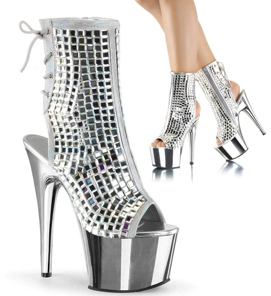 "Pleaser Shoes 7"" Heel, 2 3/4"" PF Ankle/Mid-Calf Boots Slv Mirrors/Slv Chrome ADO1018DBM/S/SCH"