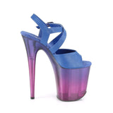 "Pleaser Shoes 8"" Heel, 4"" PF 8"" Heel Blue Faux Leather/Blue-Purple Ombre FLAM822T/BLPU/BLU-PP"