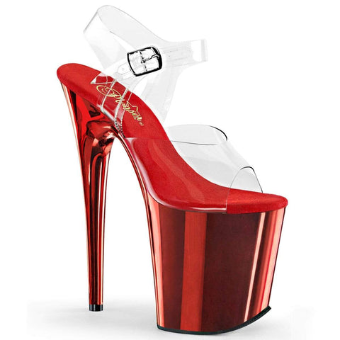 "Pleaser Shoes 8"" Heel, 4"" PF 8"" Heel Clr/Red Chrome FLAM808/C/RCH"