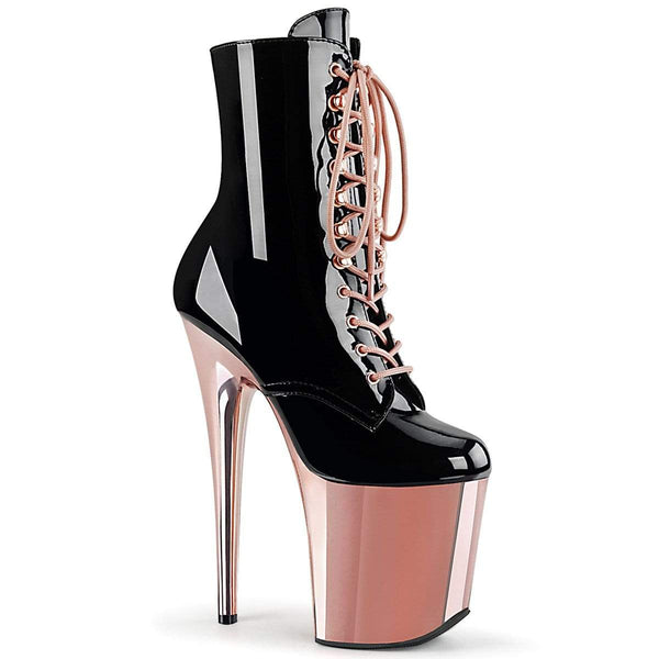 "Pleaser Shoes 8"" Heel, 4"" PF Ankle/Mid-Calf Boots Blk Pat/Rose Gold Chrome FLAM1020/B/ROGLDCH"