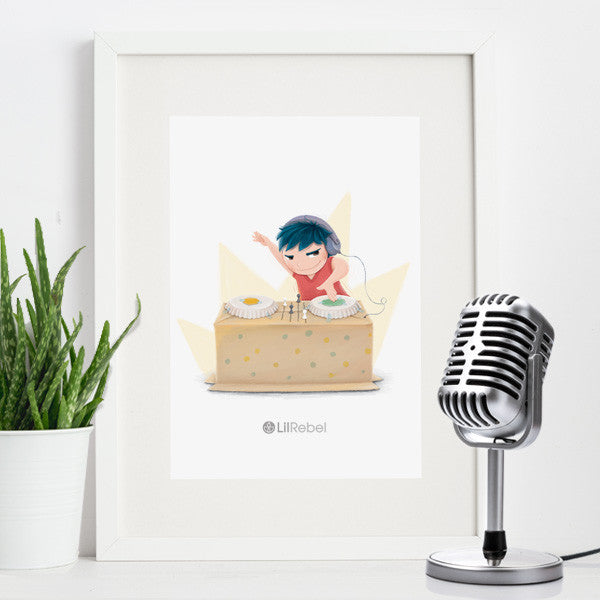 DJ Star - A4 Mounted Art Print
