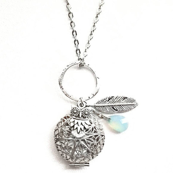 Aqua Drop Owl and Feather Diffuser Necklace Silver