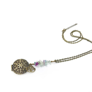 Fluorite Lotus Locket Diffuser Necklace